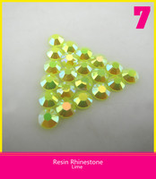 Hot Fix Resin Rhinestone Flatback Round Lime 2mm for Garment Decoration