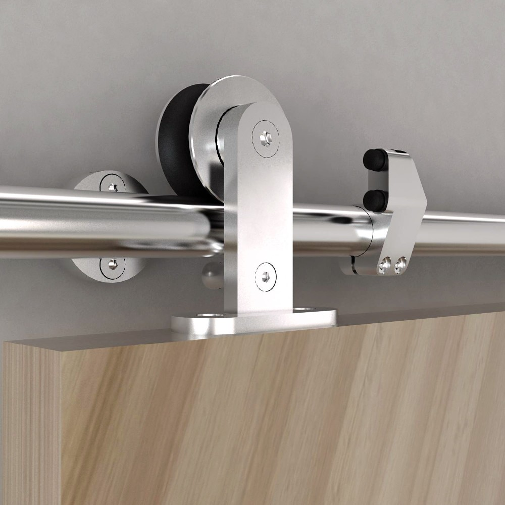 Joinable rail stainless steel bypass wooden sliding door hardware