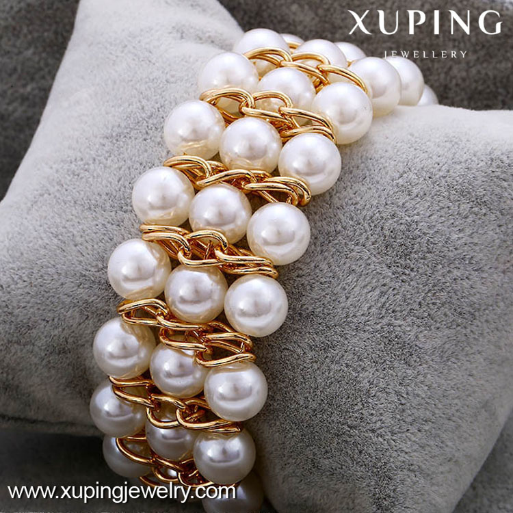 72613 High quality fashion 18k gold color color pearl bracelet