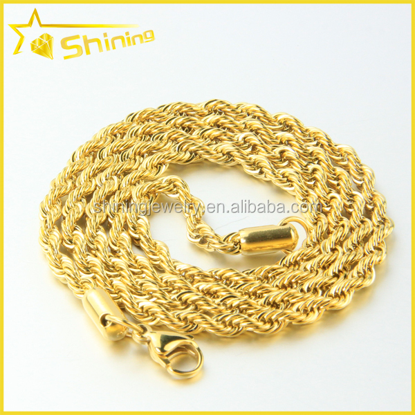14K Yellow Gold 3mm Diamond Cut Hollow Necklace Gold Rope Chain