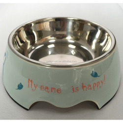 Lovely design melamine and stainless steel dog food bowl