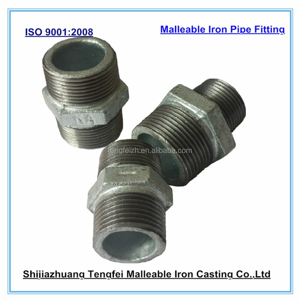 Malleable iron hexagon nipples pipe fitting
