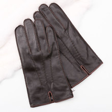 durable sheep leather brown/black genuine leather gloves men