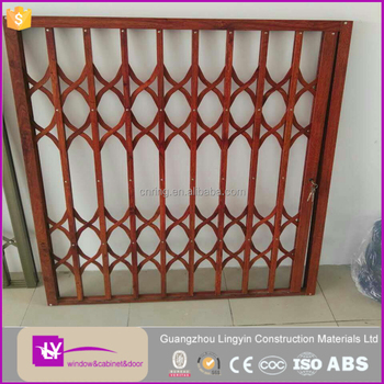 Lingyin customize golden oak aluminum security grille windows burglar proof window