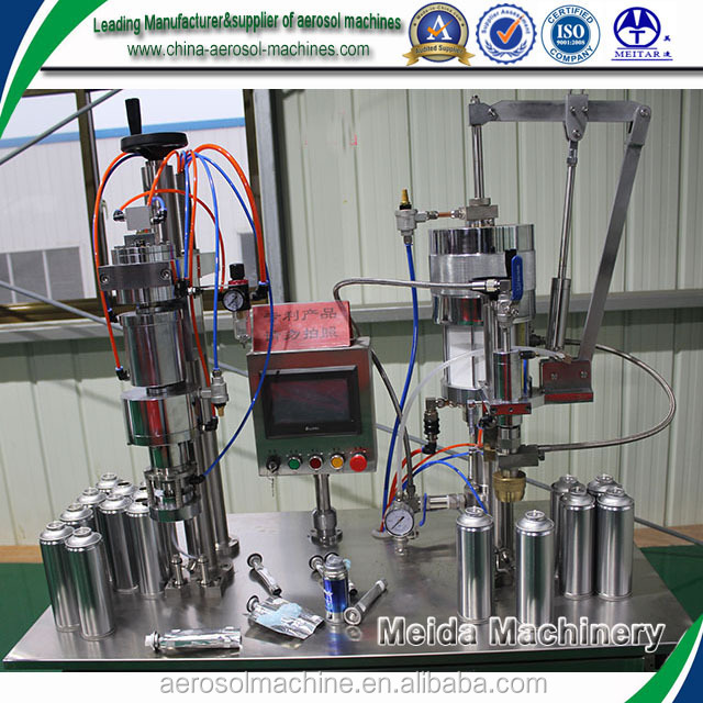 Aerosol spray paint making machine,semi-automatic Bag-on-valve Aerosol Filling machine