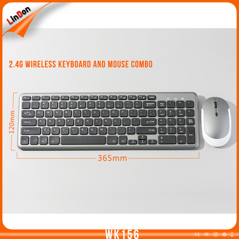 Promotional wireless keyboard and mouse with USB port 2.4Ghz wireless mouse and keyboard combo