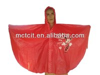 Red disposable PVC rain Poncho for kids