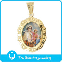 TKB-P0648 Christ Photos Virgin Mary and Baby Jesus Gold Plated Pendant for Catholic