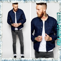 New Custom Best Price Mans Dark Shiny Blue Thin Cotton Jackets for Spring Autumn