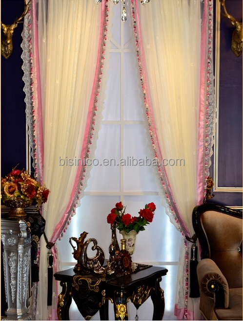 Adorable Pink Lace Bead Curtain Sheer, Elegant Princess Bedroom Sheer Curtain