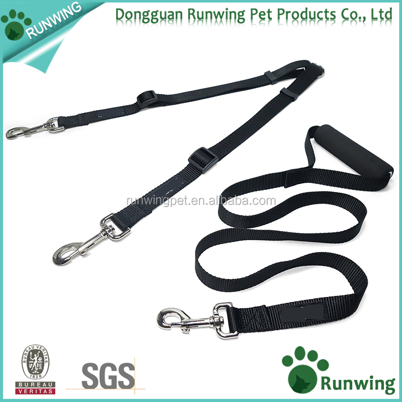 4 Foot adjustable Two Dog Leash Coupler with Padded Handle