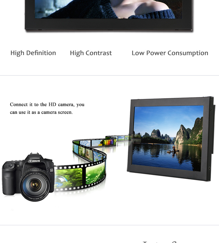 10 inch VGA/DVI/HD port DC 12v automatically identify video input mode industrial grade led computer monitor
