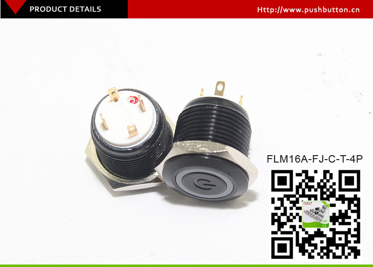 16mm ring red 24V LED zinc alloy power logo metal led pushbutton switch black