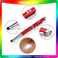 2015 china wholesale 4IN1 multifunction stylus pen with rubber dicks,laser and LED light