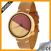 2016 new style genuine leather strap watch eco-friendly natural wood watch