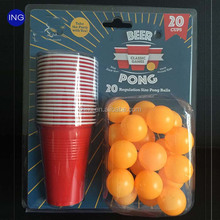 Reusable Disposable Plastic Red Cups 20pcs Beer Pong Party Kits