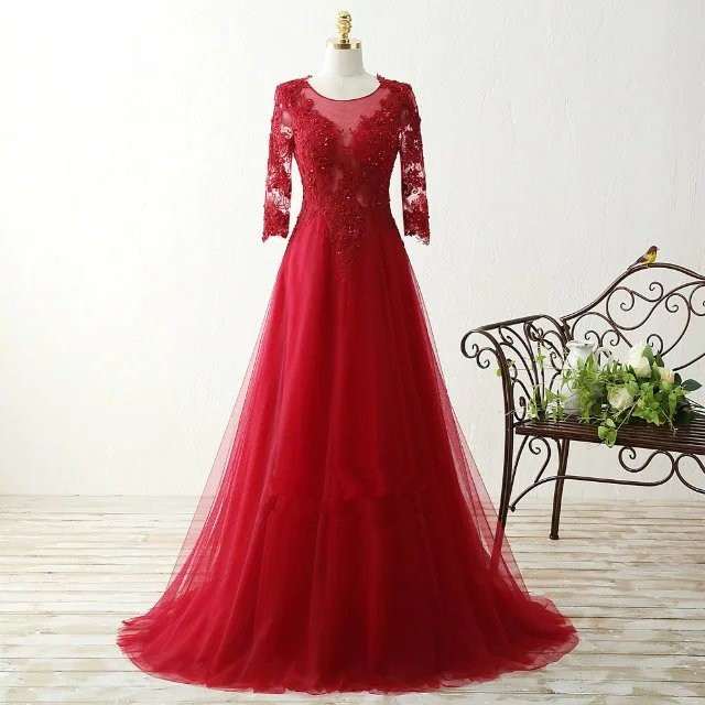 Seven sleeves red lace prom dress Elegant A-line Scoop chiffon with formal evening dress prom dresses ED626