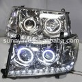 2006-2007 For TOYOTA Land cruiser LC100 4700 FJ100 LED Head Lamp Angel Eyes Silver Type