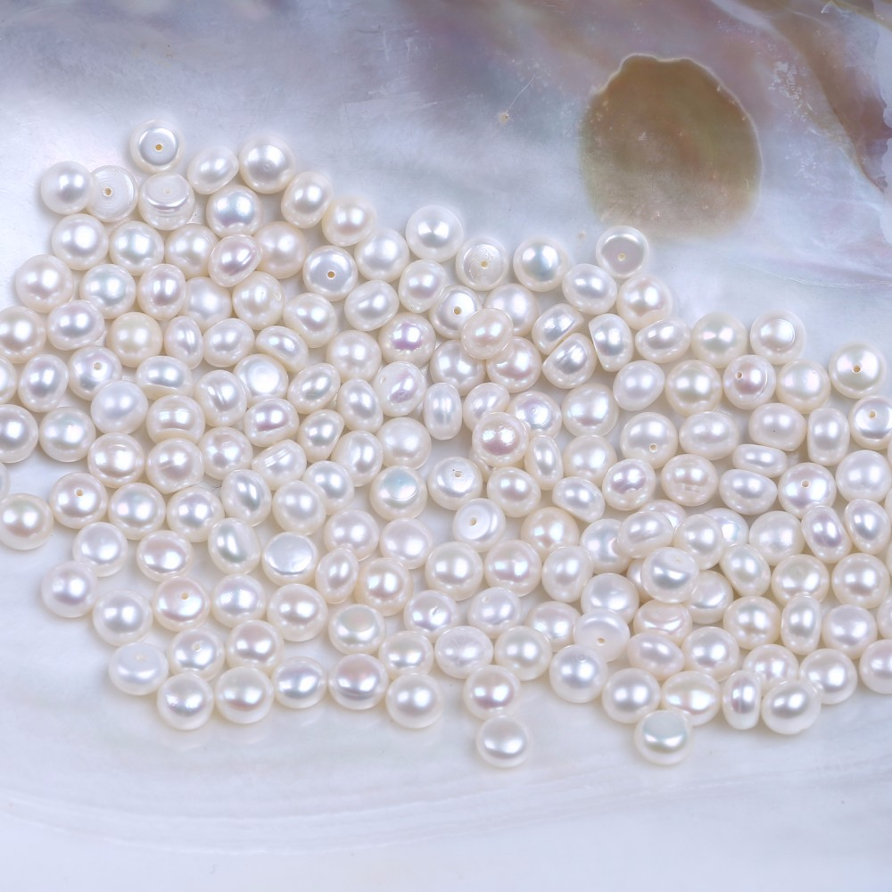 7-7.5mm AA Freshwater pearl Cultured Loose Button Pearl
