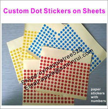 Red/Blue/Yellow Dot Paper Adheisve Stickers for Mark,Custom Round Shape Paper Label Stickers with Numbers