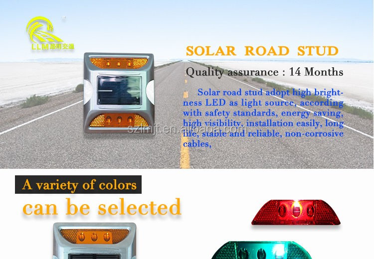 IP68 waterproof 360 degree PC round plastic LED solar road stud