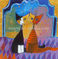 BC13-1127 Latest Hot Oil Paintings Black Cat and Calico Cat Paintings
