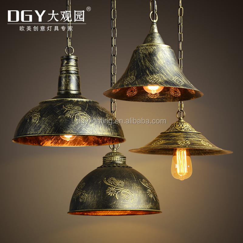 China supplier bronze iron chain luxury vintage hanging chandeliers light