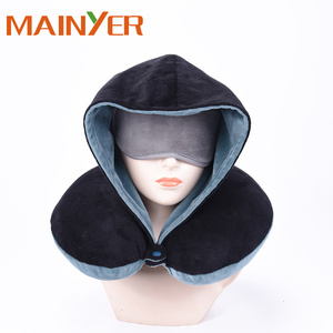 Wholesale Travel Hoodie Neck Pillow Memory Foam Compress Travel Pillow