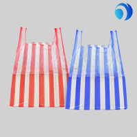 small red blue stripe t-shirt bags plastic wholesales
