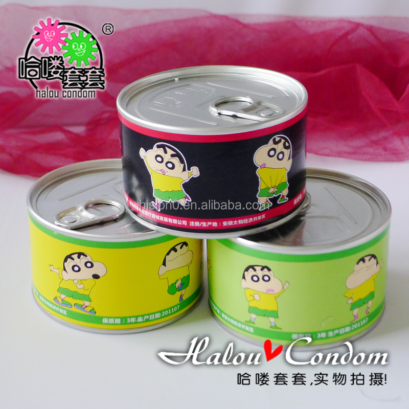 New Crayon Shin-chan Logo Exquisite Can Packaging Creative Natural Latex Condom Adult Long Lasting Love Condom Sex Products