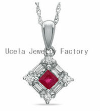 Princess-Cut Ruby drop and Diamond Necklace exotic wholesale mexican fashion costume jewelry