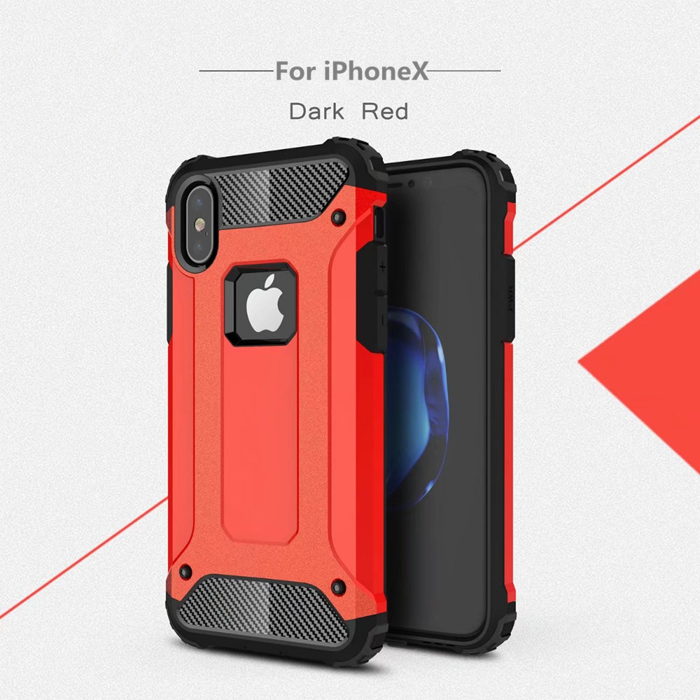 Hot selling top quality red color hybrid armor phone cases for iPhoneX