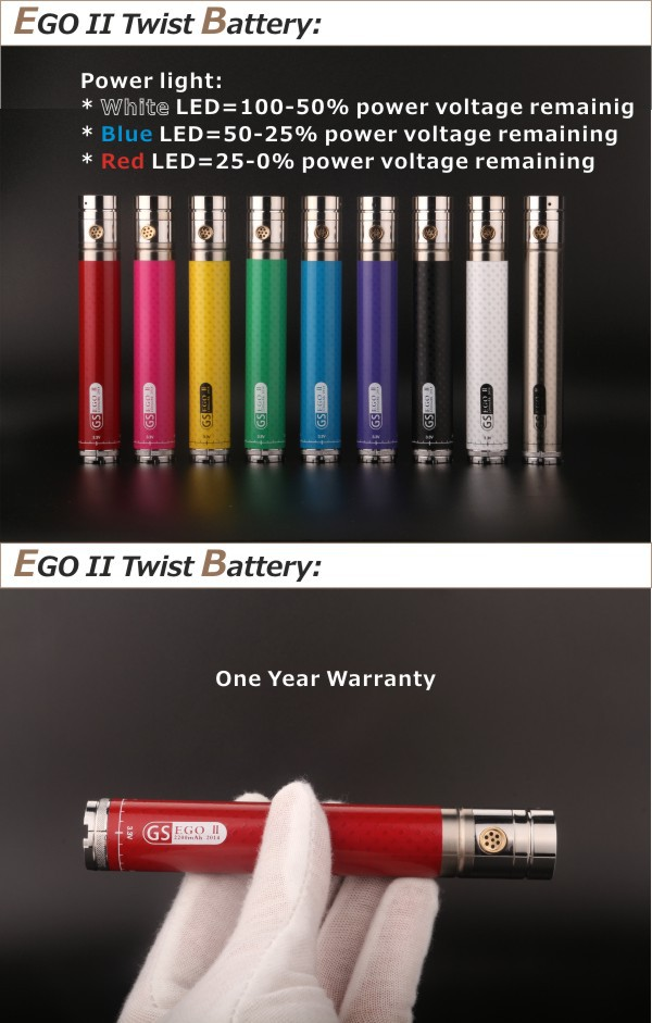 Adjustable Electronic Cigarette GS EgoII Twist 2200mah Adjustable Vaporizer Cartridge Electronic Cigarette