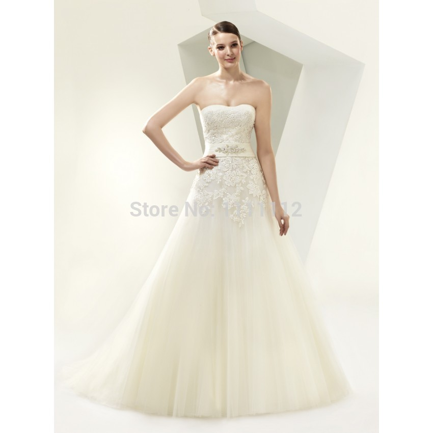 Elegant Charming A-Line Strapless Lace Beading Belt Brush Train Wedding Dresses
