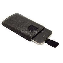 Black PU leather pull mobile phone case pouch for iphone 4 4s