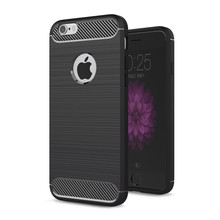 luxury shockproof carbon fiber brush soft tpu silicone case for iphone 6 6s
