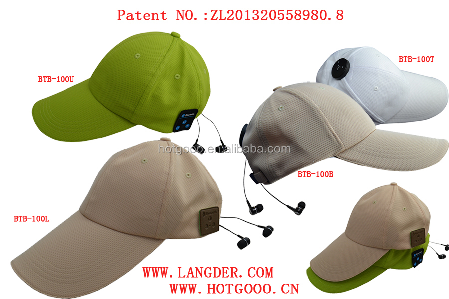 2015 Outdoor Sport Bluetooth Baseball Cap,Travel Music Hat/Low price headwear sport cap with earphone autumn bluetooth baseball