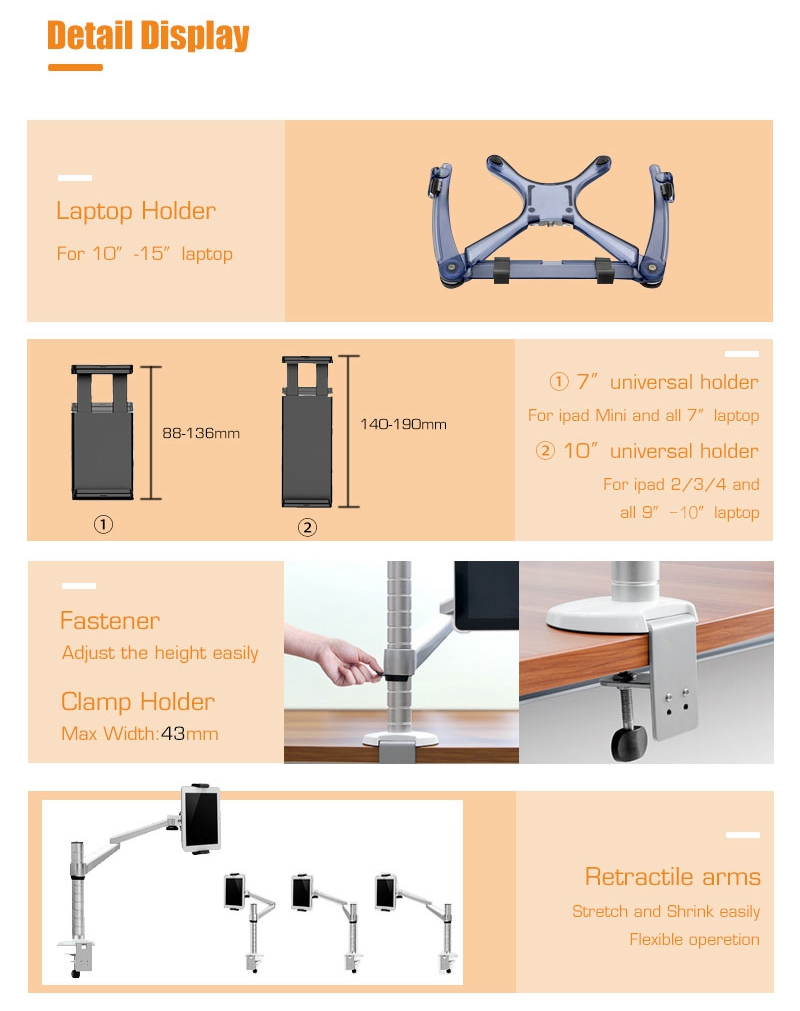 "IPFR7060 Flexible portable folding aluminium 10""-15"" laptop stand and 7""-10""tablet stand ,,Display Racks with clamp base"