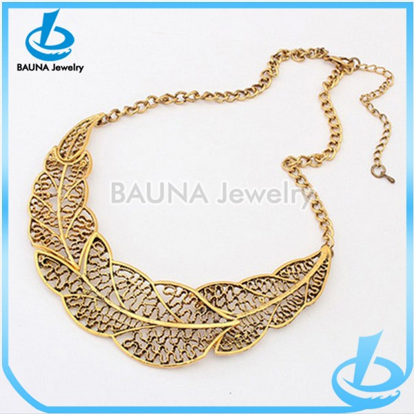 Yiwu manufacture filled gold plate choker chain hollow alloy necklace
