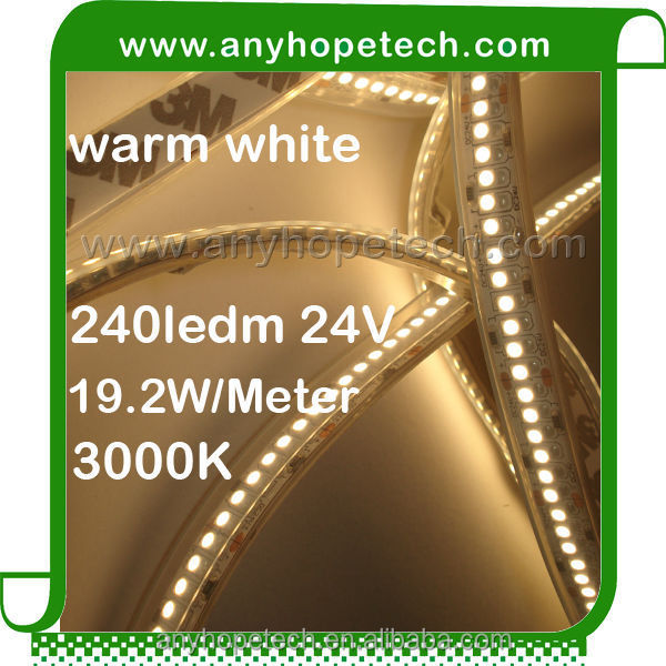 Fashionable most popular warm white 240ledm waterproof smd flexible led strip