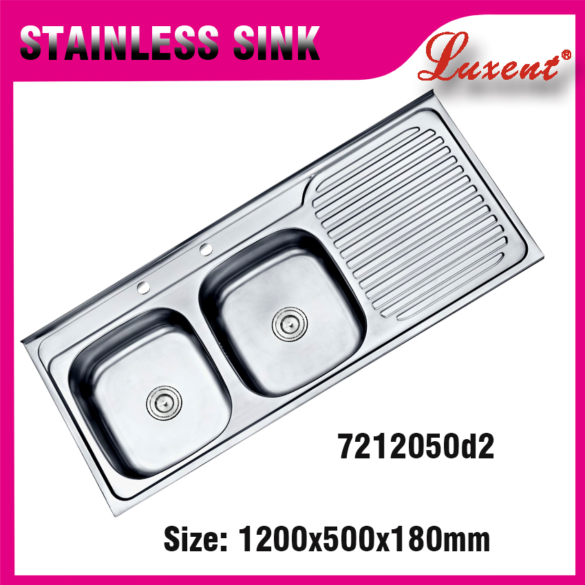 high quality 201 stainless steel handmade stainless steel kitchen sink basin double drainer double bowl sink
