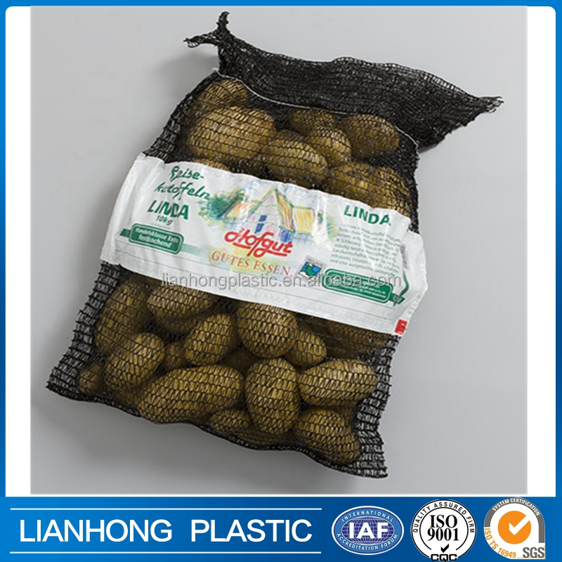 2016 most popular vegetables mesh bag with favorate price, label mark mesh bag for onion, China mesh bag supplier