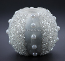 wholesaler white glass candle holder with pearl