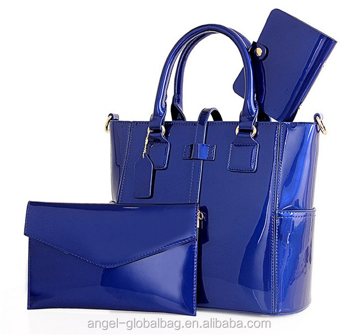 fashion patent pu leather handbag set 3pieces women bag