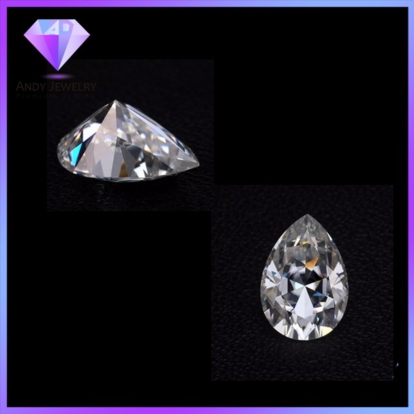 High quality white color round and pear shape moissanite diamond
