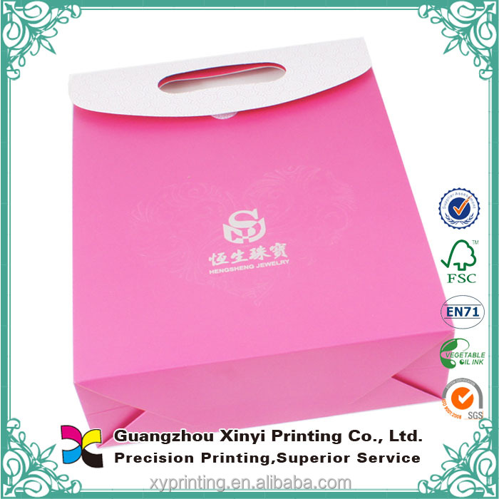 mini handmade manufacturer top quality flat bottom pink beautiful paper gift bags wholesale