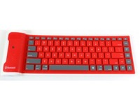 portable wireless bluetooth 87keys folding silent silicone keyboard for laptop