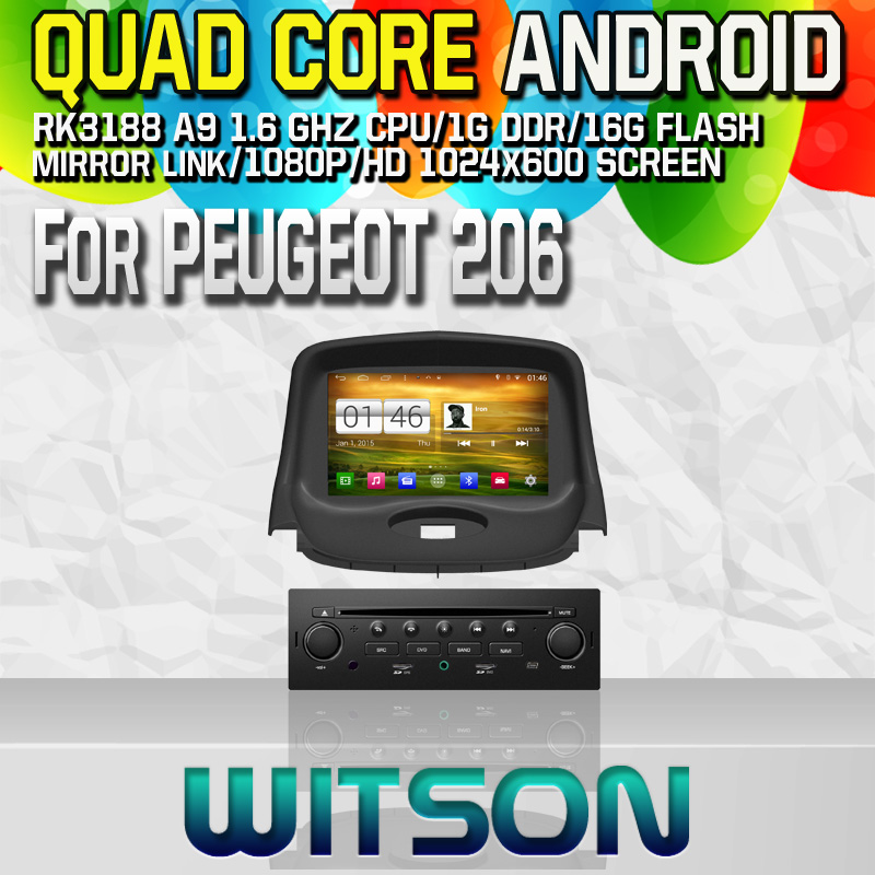 Witson S160 Android 4.4 Car DVD GPS For PEUGEOT 206 with Quad Core Rockchip 3188 1080P 16g ROM WiFi 3G Internet