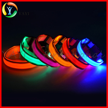 Glow Plain Nylon Rechargeable USB LED Dog Pet Collars