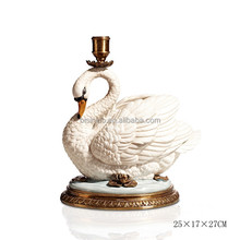 Imitated Swan Design Ceramic Candlestick Holder, Vivid Porcelain & Brass Swan Candle Holders, Home Decor Single Head Candlestick